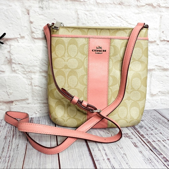 ❌COACH Signature Tan Pink Crossbody Bag Authentic